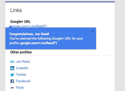 Google+ URL claimed